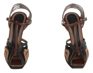 Marni Tri-color (Saddle Brown, black, navy blue) Sandals