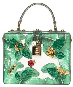 Dolce&Gabbana Banana Leaf Snakeskin Python Box Tote in Green