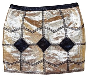Endless Rose Metallic Zipper Mini Diamond Gold Mini Skirt black, gold