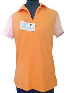 Bobby Jones Clover Polo Lace Golf T Shirt Orange and White