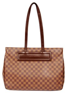 Louis Vuitton Damier Ebene Parioli Gm Canvas Leather Tote in Brown