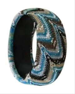 Fantaisie New Unused Hand Crocheted Sequined Turquoise Bangle Bracelet