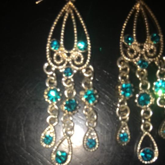 Other Silver Chandelier Earrings With Turquoise Rhinestones