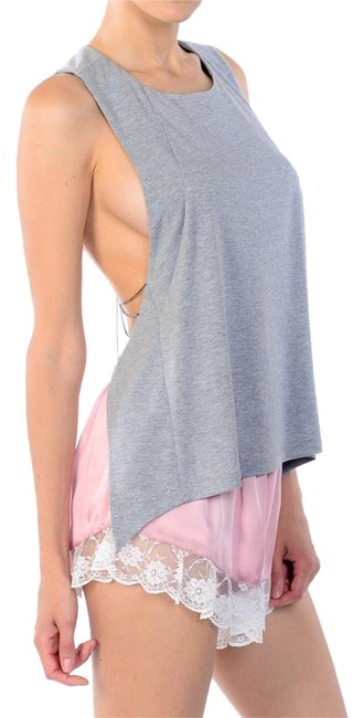 Item - Heather Gray W Open Back Tank W/Chain Detail Halter Top Size 8 (M)