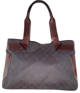 Gucci Mint Tote in black denim with brown large G logo priint & brown leather