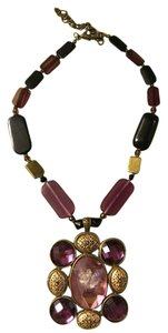 Sioux Zanne Messix Acrylic beads aubergine and black statement necklace