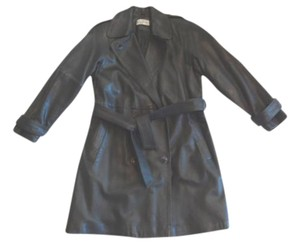 Bagatelle Leather Trench Coat 3/4 Length BLACK Leather Jacket