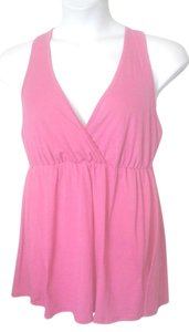 Taboo Lace Back Wide Strap 1x Surplice Neck Top Fuscia Pink