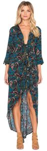 Teal Print (Dark Floral) Maxi Dress by Knot Sisters