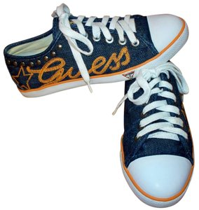 Guess Denim Studded Sneakers Lace Up Blue Athletic