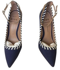 ALDO Upper Leather Textile Panel Blue, White, Black Pumps