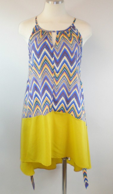 Hot & Delicious short dress Yellow Blue White Geometric High Low Summer Spring Halter on Tradesy