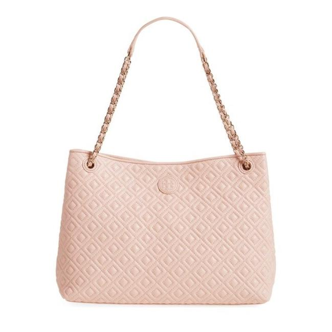 Item - Marion Quilted Center-zip Pale Apricot Lambskin Leather Tote