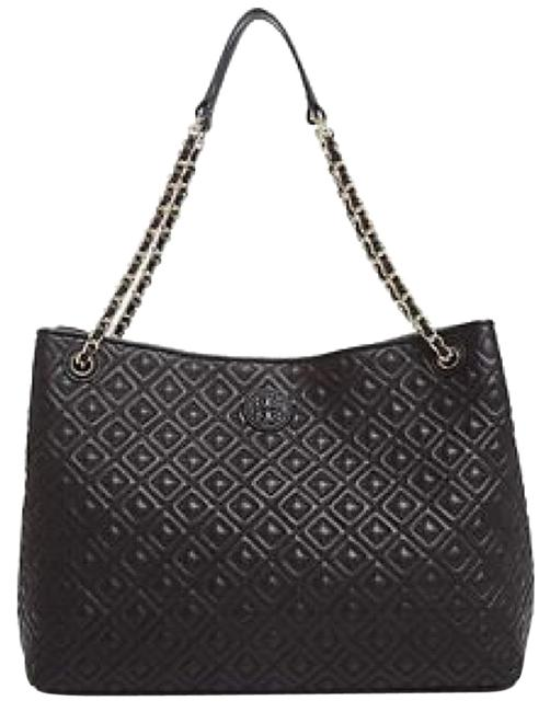 Item - Marion Quilted Center-zip Black Lambskin Leather Tote