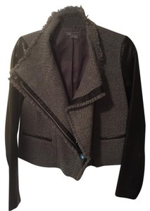 Vince Leather Wool Black Black/Grey Leather Jacket