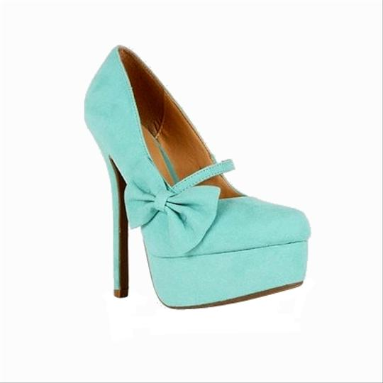 Wild Diva Bow Heels Stillettos Mary Jane Turquoise Platforms