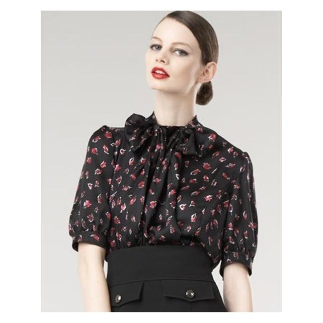 Item - Multicolor Pussy-bow Printed Silk Blouse Size 8 (M)
