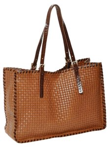 Carla Mancini Woven Whipstitched Fall Travel Tote in Tan