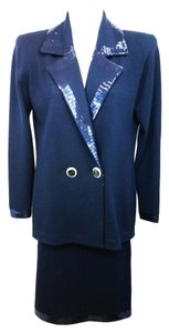 St. John ST. JOHN PAILLETTES EMBELLISHED NAVY BLUE KNIT SKIRT SUIT 6