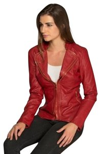 LA Coal Flaming Red Leather Jacket