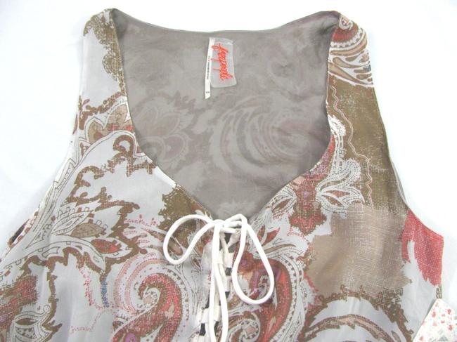 Free People short dress multi Georgette Chiffon 10 Short Mini Pailsey 8 Ivory Brown Red M Sleeeveless Boho New Sheer Gray on Tradesy Image 5