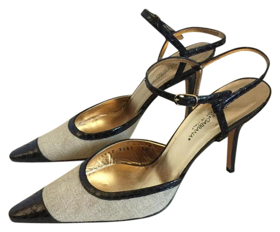 Dolce Gabbana Tan   Black Python Embossed Pointed Cap Toe Ankle Strap Pumps