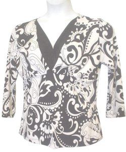 GNW Paisley Floral Mock Twin Empire Waist Top Black White