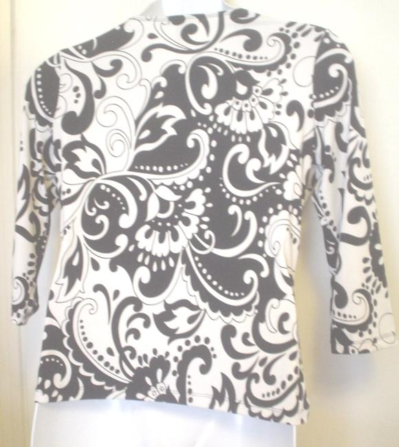 GNW Paisley Floral Mock Twin Empire Waist Top Black White Image 1