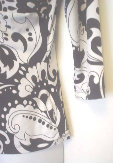 GNW Paisley Floral Mock Twin Empire Waist Top Black White Image 4