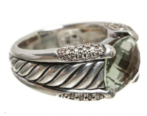 David Yurman David Yurman Sterling Silver Diamond and Prasiolite Ring (Size 6)