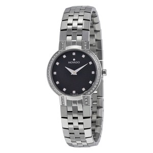 Movado Diamonds Set Bezel Black Dial Luxury Ladies Designer Watch