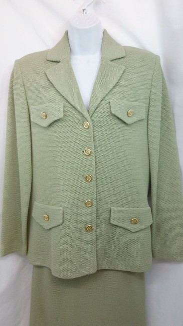 St. John NWT ST. JOHN COLLECTION SAGE GREEN KNIT SKIRT SUIT 6 Image 1