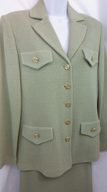 St. John NWT ST. JOHN COLLECTION SAGE GREEN KNIT SKIRT SUIT 6 Image 3