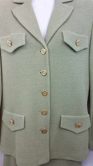 St. John NWT ST. JOHN COLLECTION SAGE GREEN KNIT SKIRT SUIT 6 Image 5