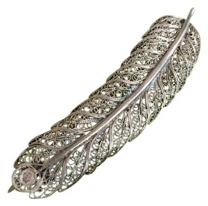 Real Silver Antique Feather Pin Pre-925
