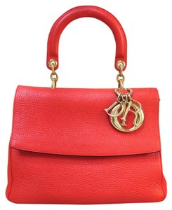 Dior Tote Calfskin Be Flap Satchel in red