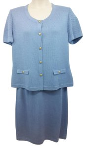 St. John ST. JOHN COLLECTION LIGHT BLUE 3-PC. KNIT PANT SKIRT SUIT 14