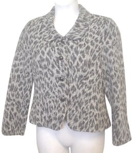 Bob Mackie Studio Cheetah Pattern Lined Costume Buttons Gray to Black Blazer