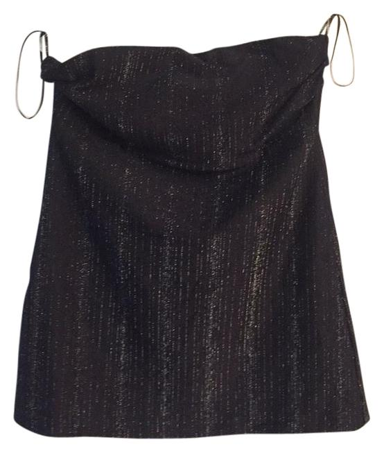Item - Black with Silver Vertical Stitching Top