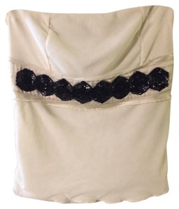 The Limited Top Cream black beading