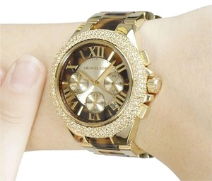 Michael Kors Ladies Camille Tortoise Gold Glitz Chronograph Watch MK5901W