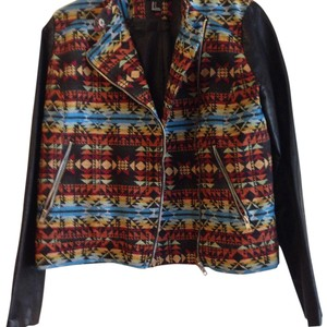 Forever 21 Aztec Zipper Fuax Mink Fall Motorcycle Jacket