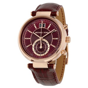 Michael Kors Burgundy Dial Gold and Leather Strap Designer Ladies Watch