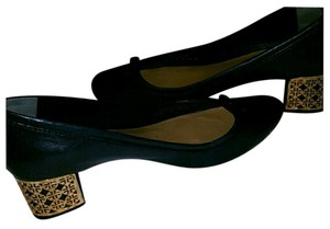 Tory Burch Navy Blue with Gold Logo Heels Pumps