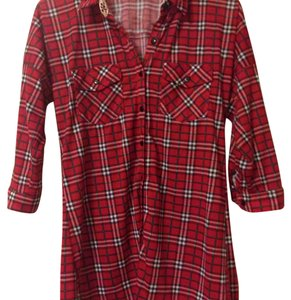 G Collection Buttondown Crochet Soft Button Down Shirt plaid