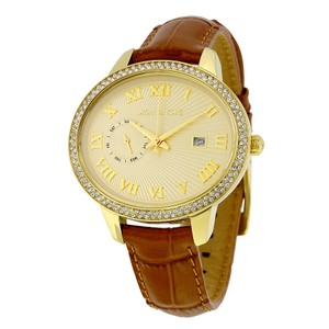 Michael Kors Gold Stainless Steel Crystal Pave Leather Strap Designer Watch