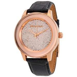 Michael Kors Crystal Pave Dial Rose Gold Leather Strap Designer Watch