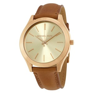 Michael Kors Gold Dial Stainless Steel Brown Leather Strap Casual watch