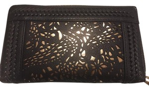 Big Buddha Wallet Wristlet in Black and gold peekaboo