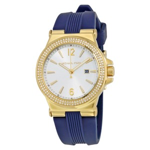 Michael Kors White Dial Gold Crystal Pave Bezel Blue Silicone Strap Watch